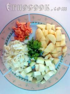 нарізані овочі