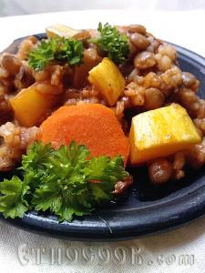сочевиця з тушкованими овочами