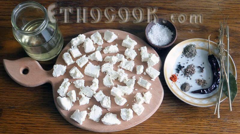 маринований сир в олії складники