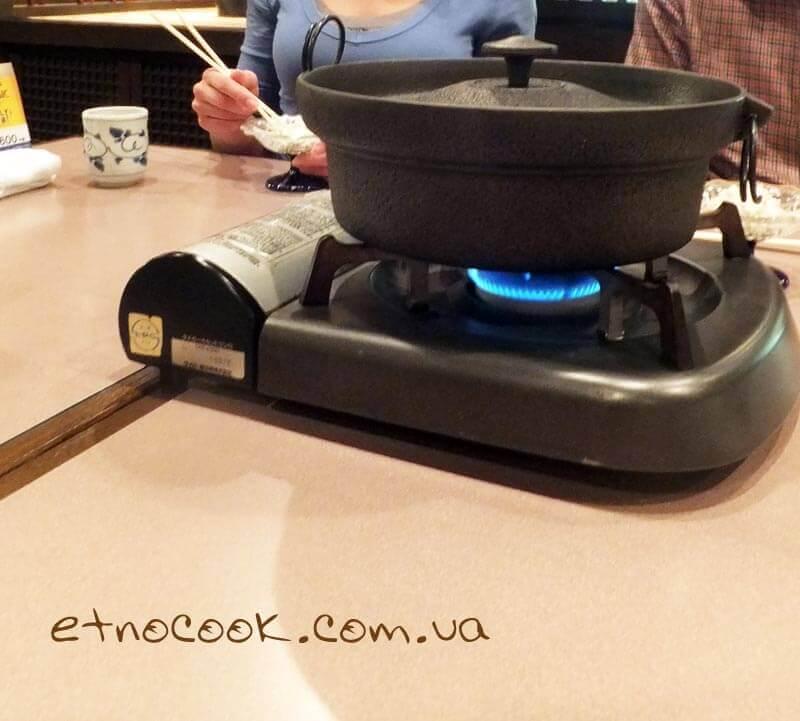 тецунабе на переносній плиті