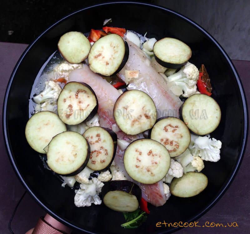 овочі-баклажани-цвітна-капуста-перець-риба-філе-етнокук